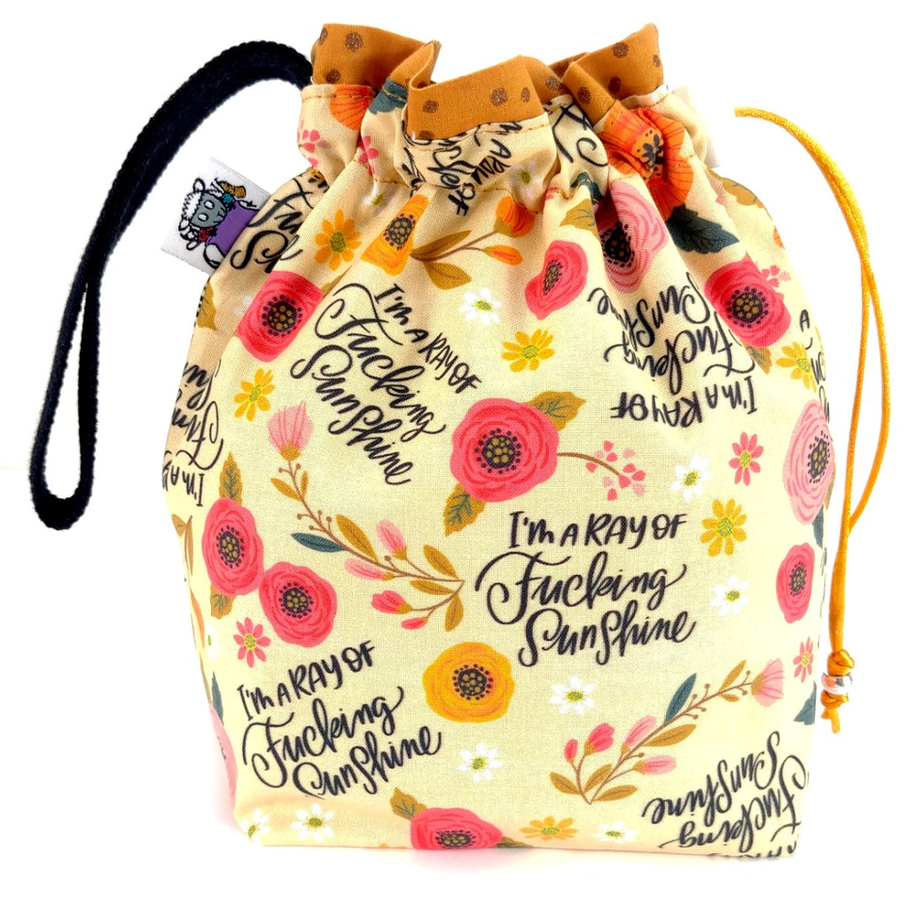 I'm a Ray of F*ing Sunshine </br> Small Project Bag:Small Project Bag,Slipped Stitch Studios:Slipped Stitch Studios