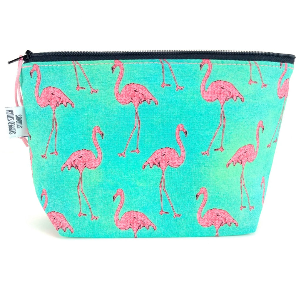 Flamingo </br> Zipper Notion Pouch:Zipper Notion Pouch,Slipped Stitch Studios:Slipped Stitch Studios