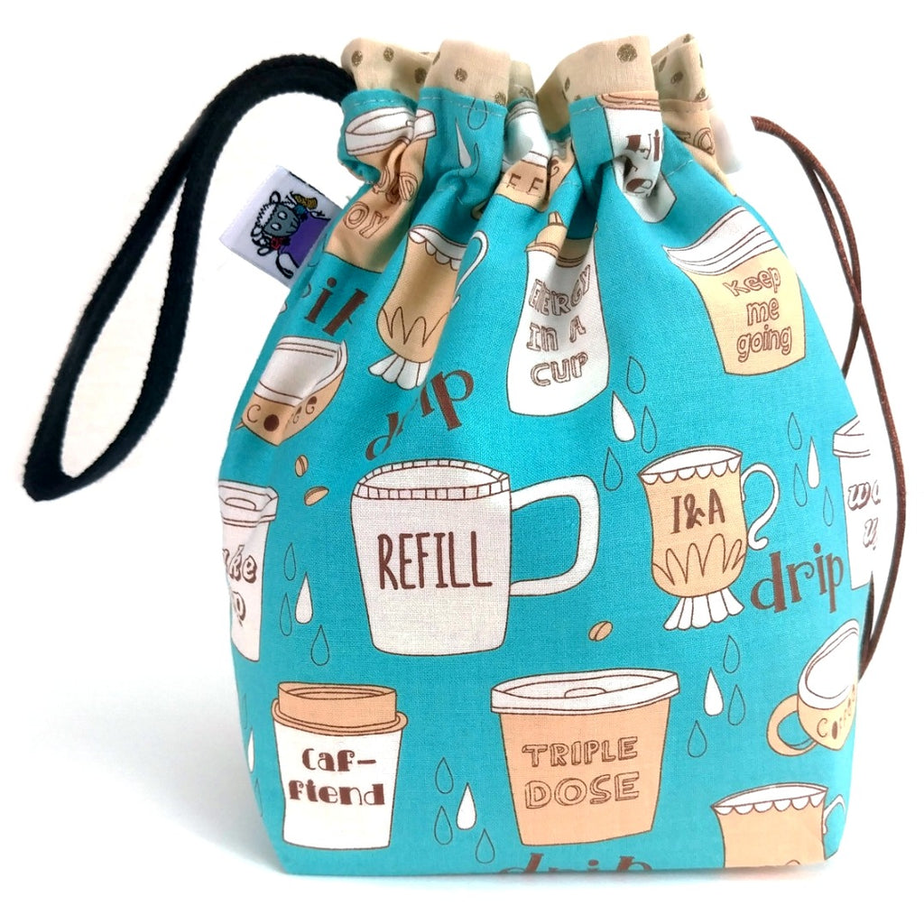 Coffee (Teal) </br> Small Project Bag:Small Project Bag,Slipped Stitch Studios:Slipped Stitch Studios