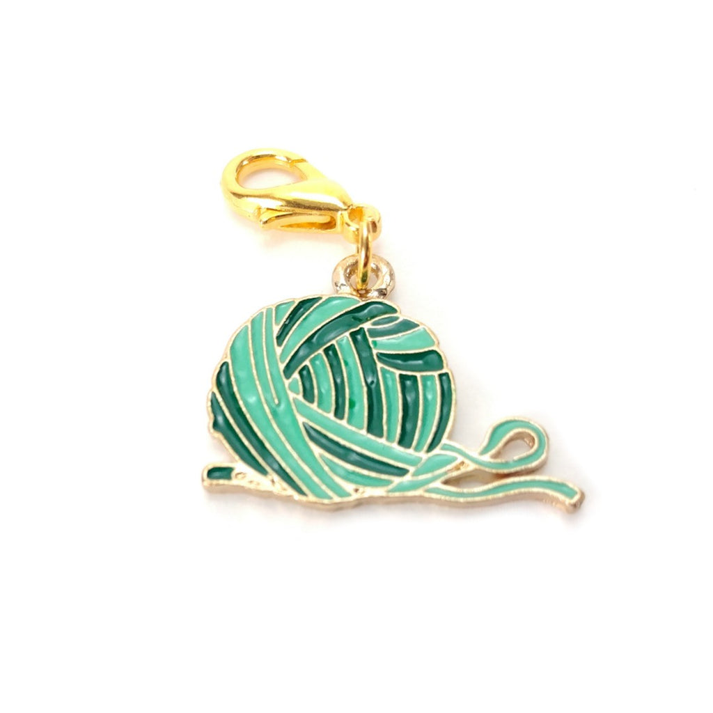 Green Yarn Ball (Gold Clasp Only) </br> Stitch Marker (Single):Stitch Markers,Slipped Stitch Studios:Slipped Stitch Studios