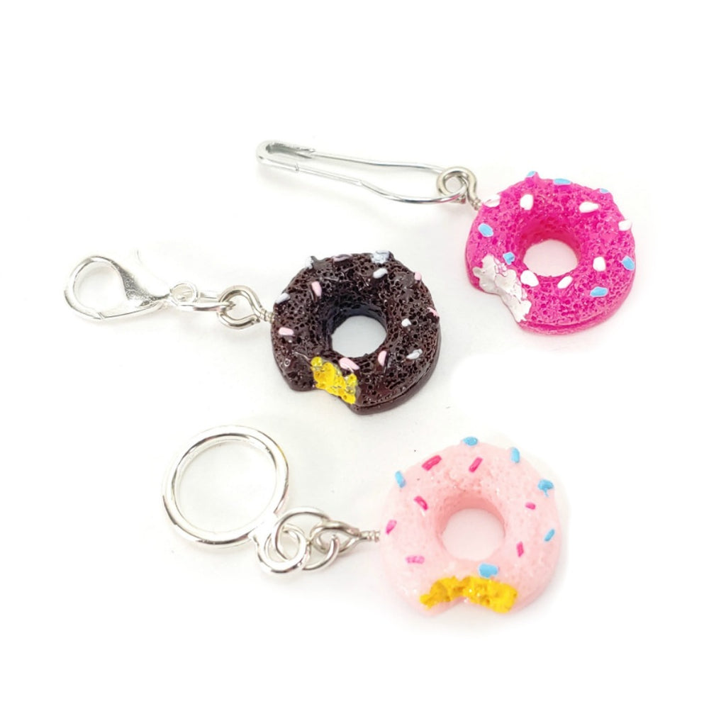 Mmm...Donuts </br> Stitch Marker (Single: Choice of Chocolate, Cherry, or Strawberry):Stitch Markers,Slipped Stitch Studios:Slipped Stitch Studios