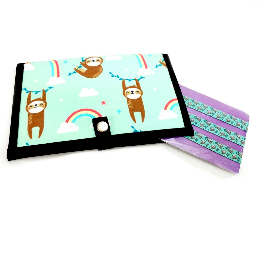 Happy Sloths (Flannel) </br> Pattern Holder & Sloths Magnet Set </br> Knit & Crochet Pattern Organizer:Pattern Wallet,Slipped Stitch Studios:Slipped Stitch Studios