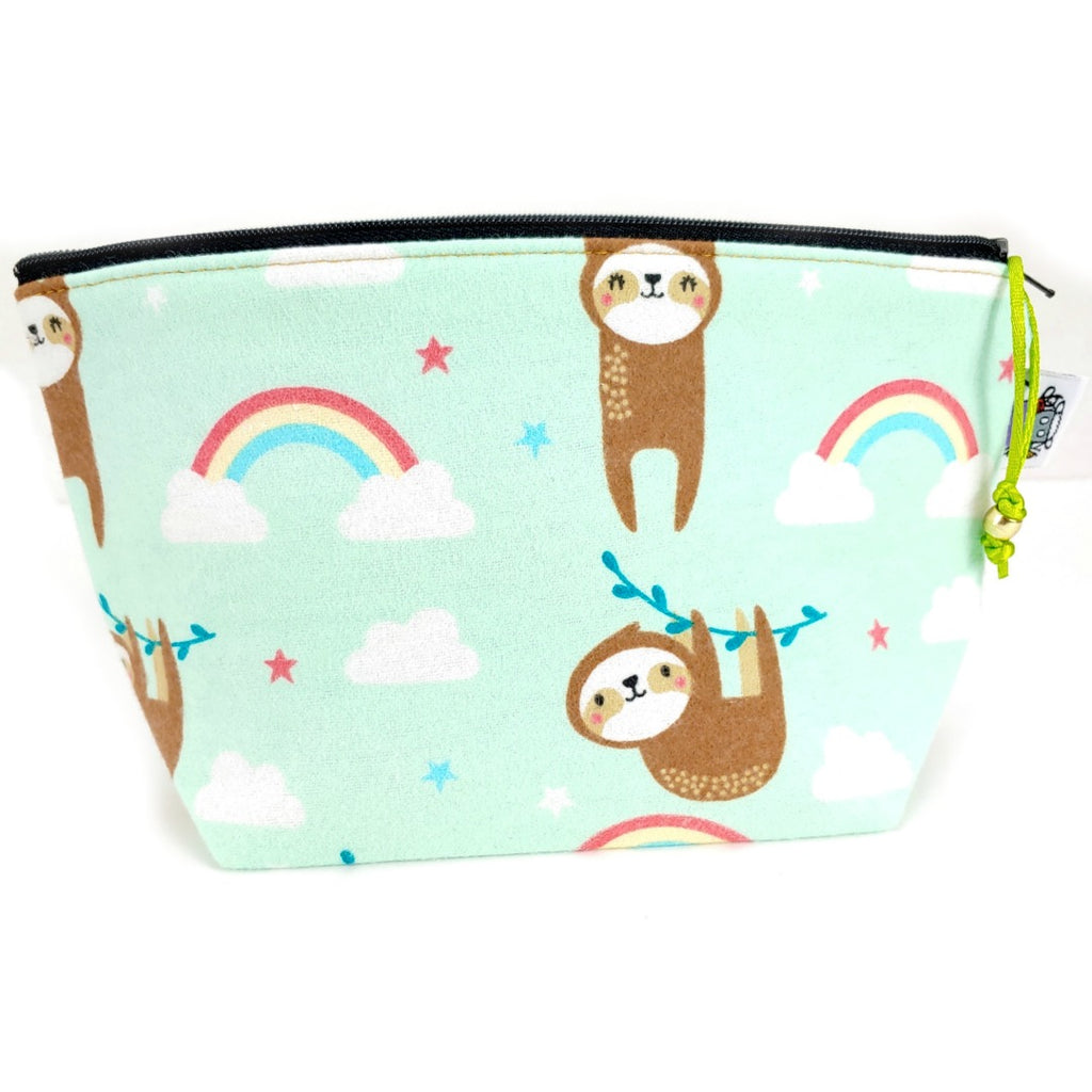 Happy Sloths (Flannel) </br> Zipper Notion Pouch:Zipper Notion Pouch,Slipped Stitch Studios:Slipped Stitch Studios