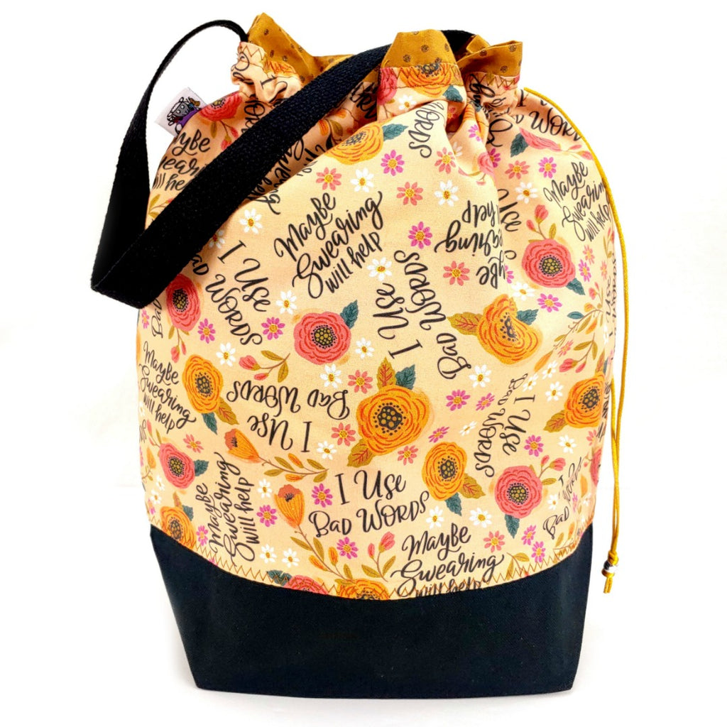 Maybe Swearing Will Help </br> Large Project Bag:Large Project Bag,Slipped Stitch Studios:Slipped Stitch Studios