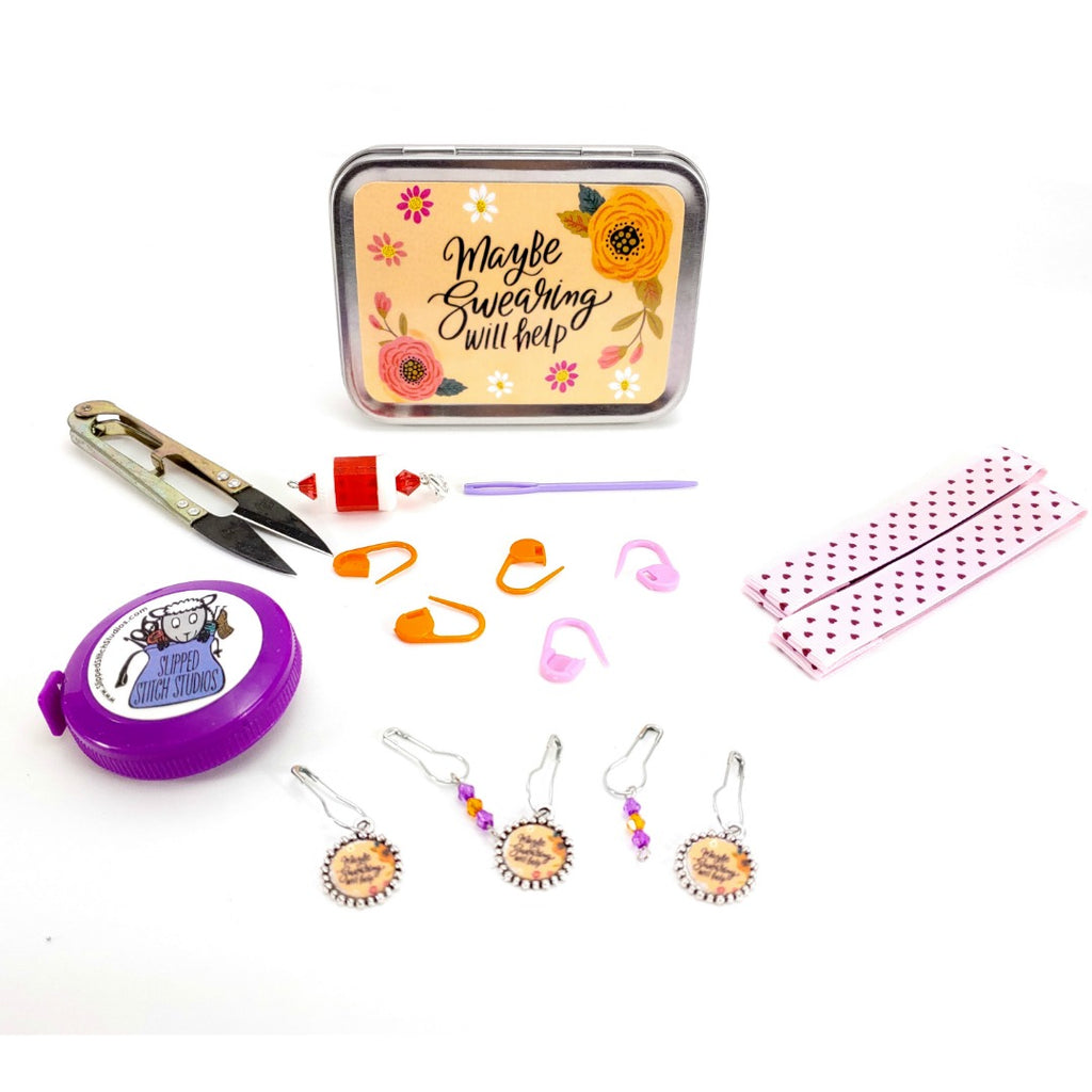 Maybe Swearing Will Help </br> Crafter's Tool Box - Choose: Empty or Kit (Complete):Tool Box,Slipped Stitch Studios:Slipped Stitch Studios
