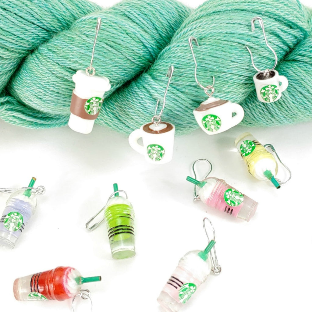 Ice Cold Frappuccino </br> Stitch Marker (Single):Stitch Markers,Slipped Stitch Studios:Slipped Stitch Studios