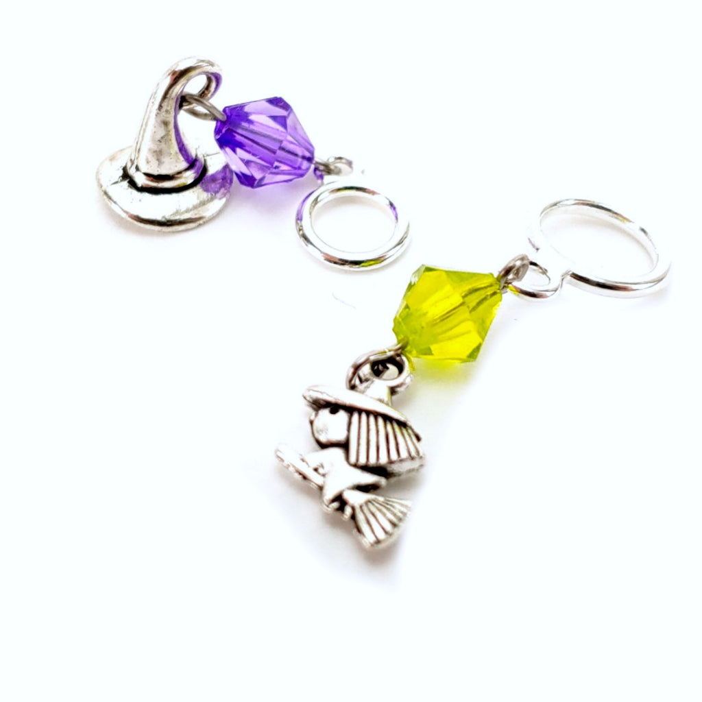 Stitchy Witchy (Choose Hat or Stitchy Witchy) </br> Stitch Marker (Single):Stitch Markers,Slipped Stitch Studios:Slipped Stitch Studios