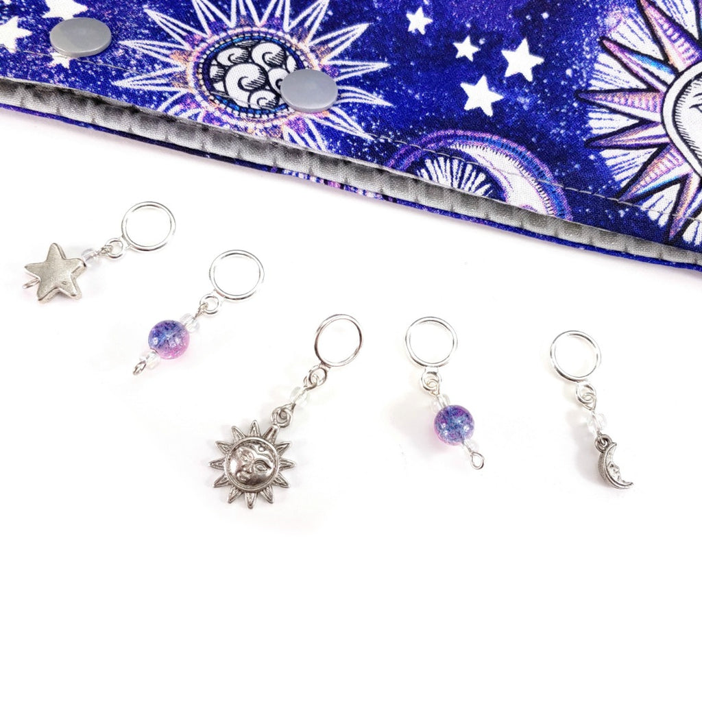 Moon & Stars </br> Stitch Markers </br> Set of 5:Stitch Markers,Slipped Stitch Studios:Slipped Stitch Studios