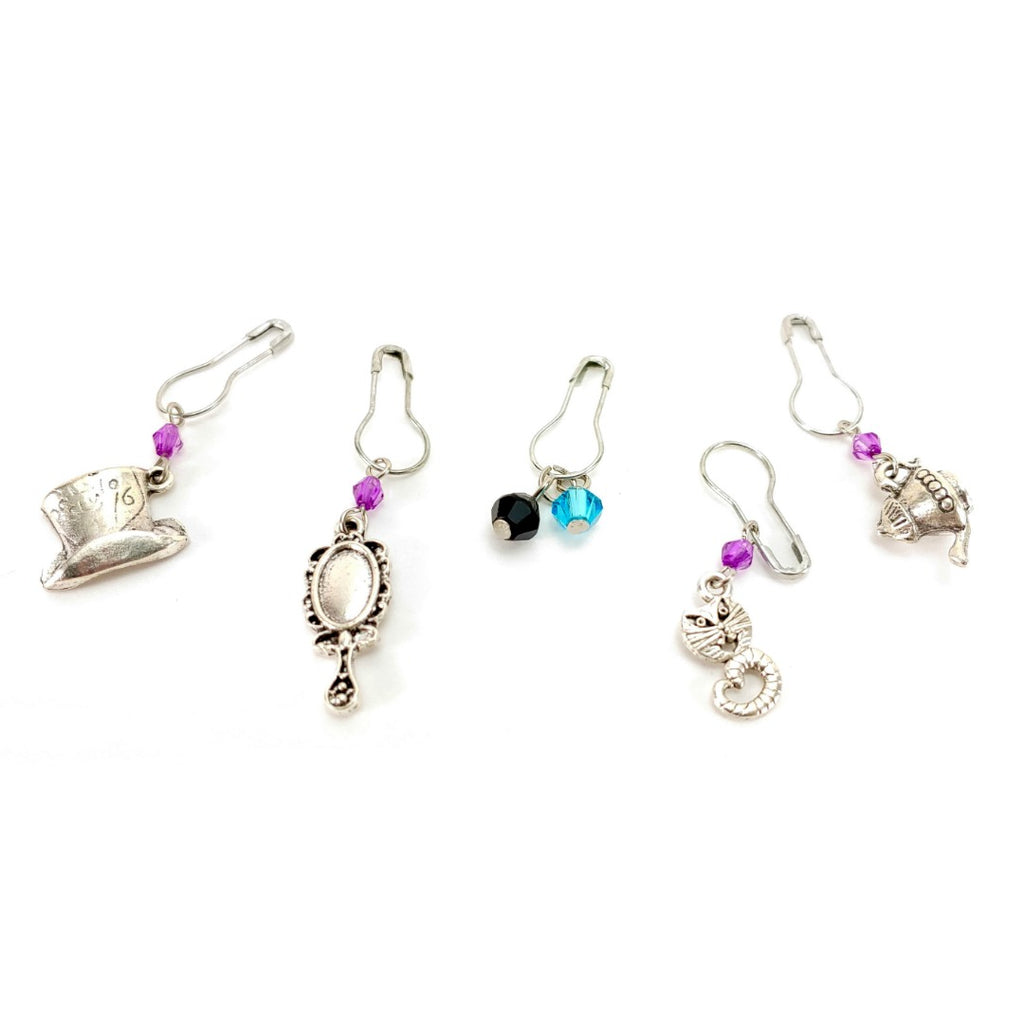 Dark Alice </br> Stitch Markers </br> Set of 5:Stitch Markers,Slipped Stitch Studios:Slipped Stitch Studios