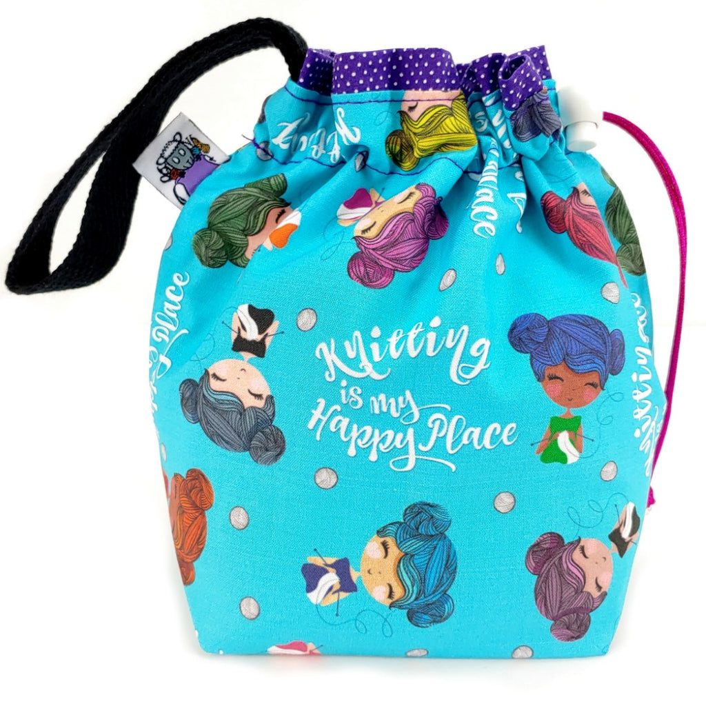Knitting is My Happy Place </br> Small Project Bag:Small Project Bag,Slipped Stitch Studios:Slipped Stitch Studios