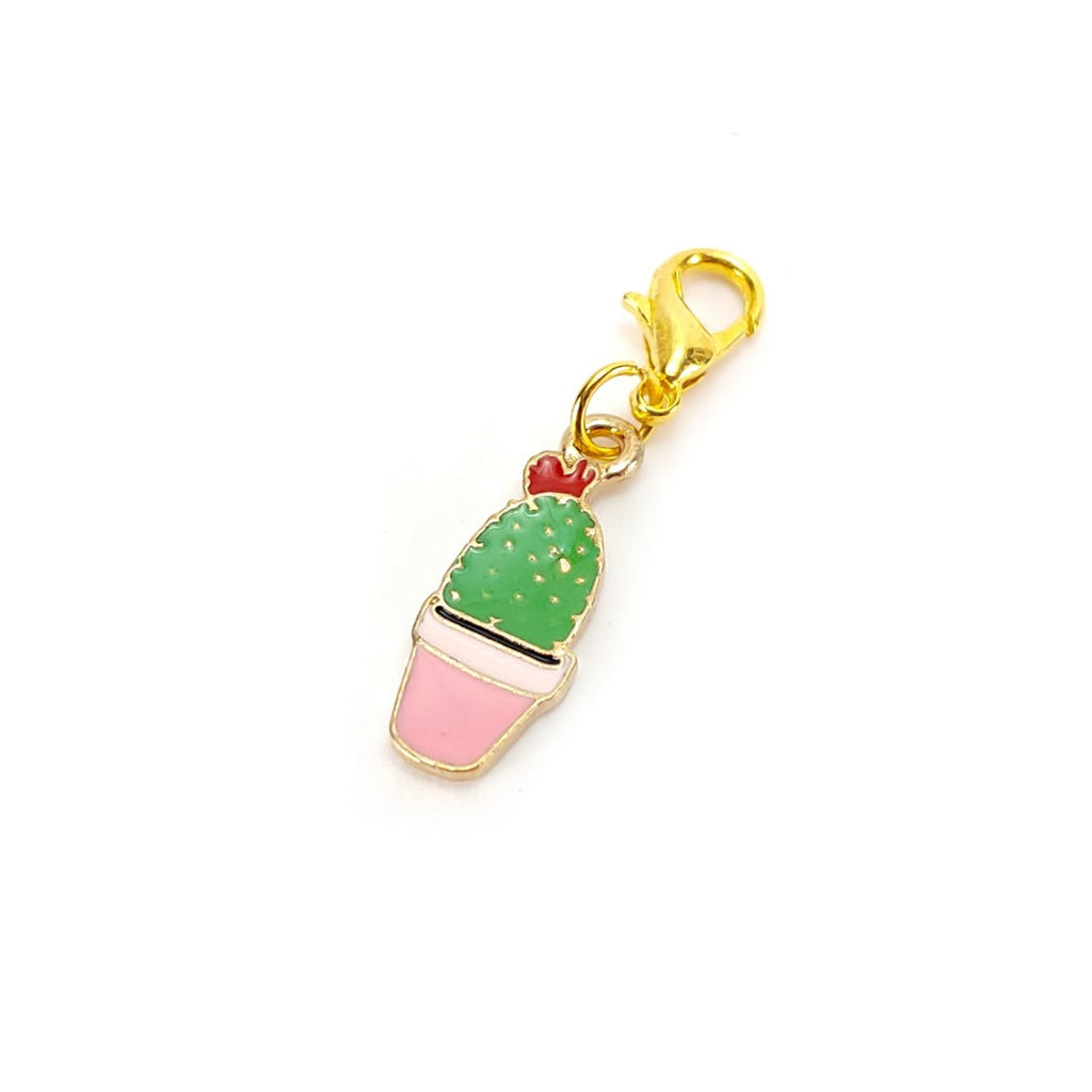 Succulent (Pink Pot, gold clasp only) </br> Stitch Marker (Single):Stitch Markers,Slipped Stitch Studios:Slipped Stitch Studios