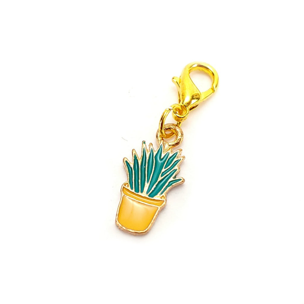 Succulent (Yellow Pot, gold clasp only) </br> Stitch Marker (Single):Stitch Markers,Slipped Stitch Studios:Slipped Stitch Studios