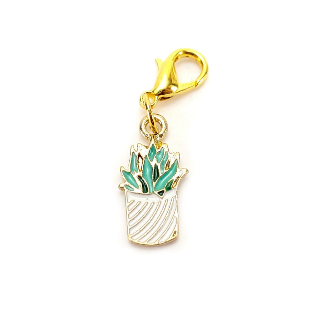 Succulent (White Pot, gold clasp only) </br> Stitch Marker (Single):Stitch Markers,Slipped Stitch Studios:Slipped Stitch Studios
