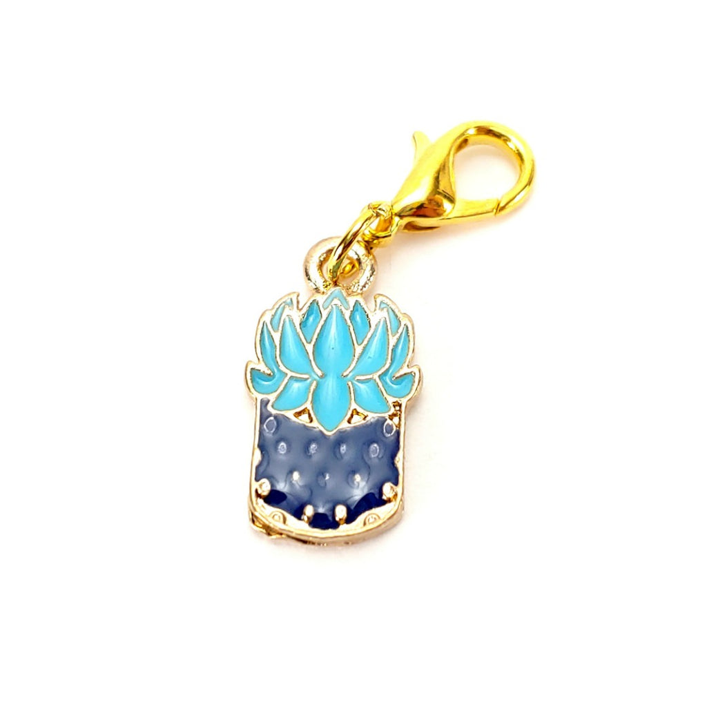 Succulent (Blue Pot, gold clasp only) </br> Stitch Marker (Single):Stitch Markers,Slipped Stitch Studios:Slipped Stitch Studios