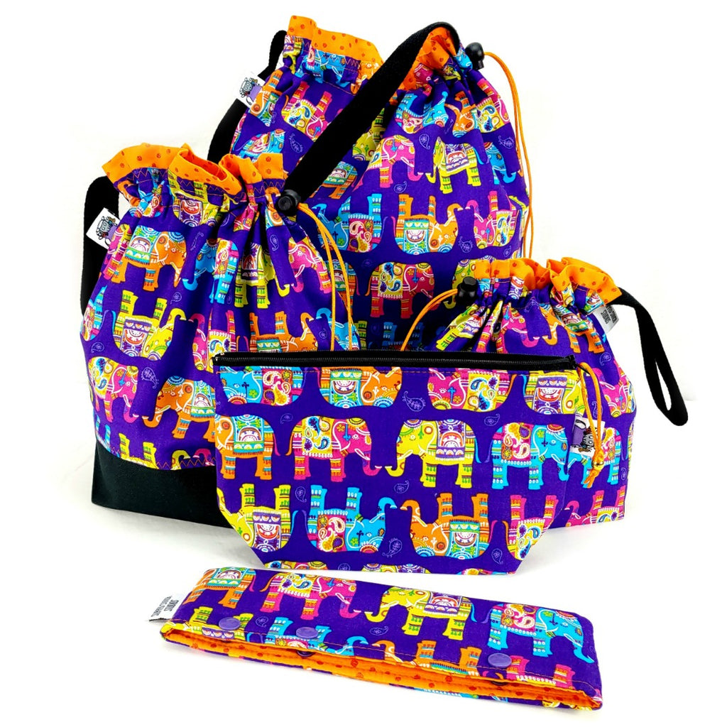 Enlightened Elephant </br> XL Project Bag </br> Studio Tote & Tot:XL Project Bag,Slipped Stitch Studios:Slipped Stitch Studios