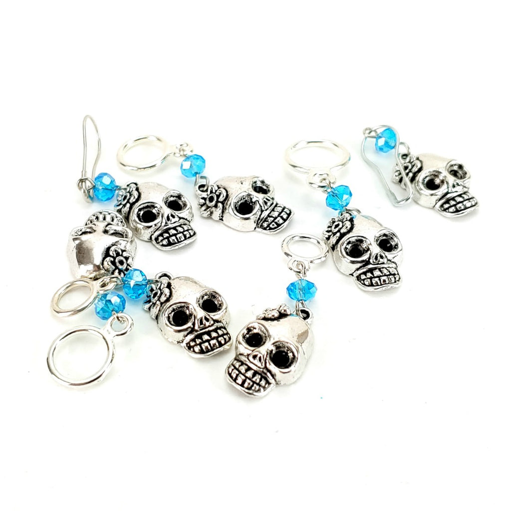 Flower Skull </br> Stitch Marker (Single):Stitch Markers,Slipped Stitch Studios:Slipped Stitch Studios