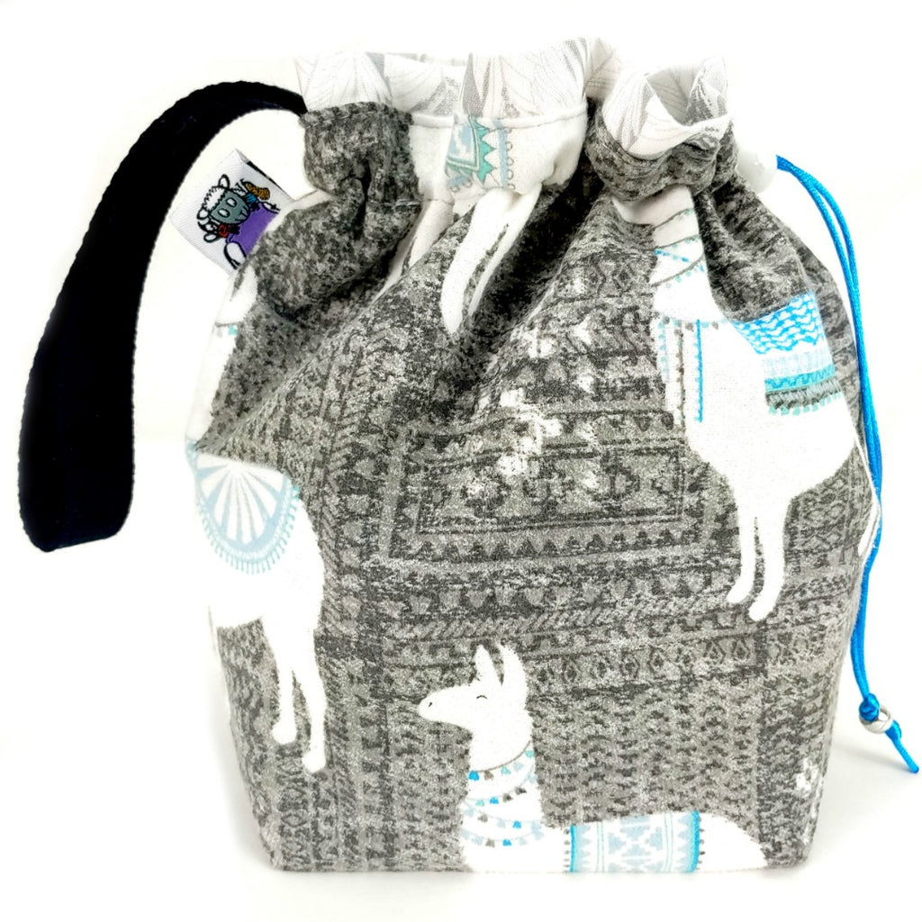 Llama-rama (Flannel) </br> Small Project Bag:Small Project Bag,Slipped Stitch Studios:Slipped Stitch Studios