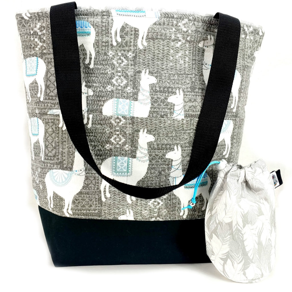 Llama-rama (Flannel) </br> XL Project Bag </br> Studio Tote & Tot:XL Project Bag,Slipped Stitch Studios:Slipped Stitch Studios