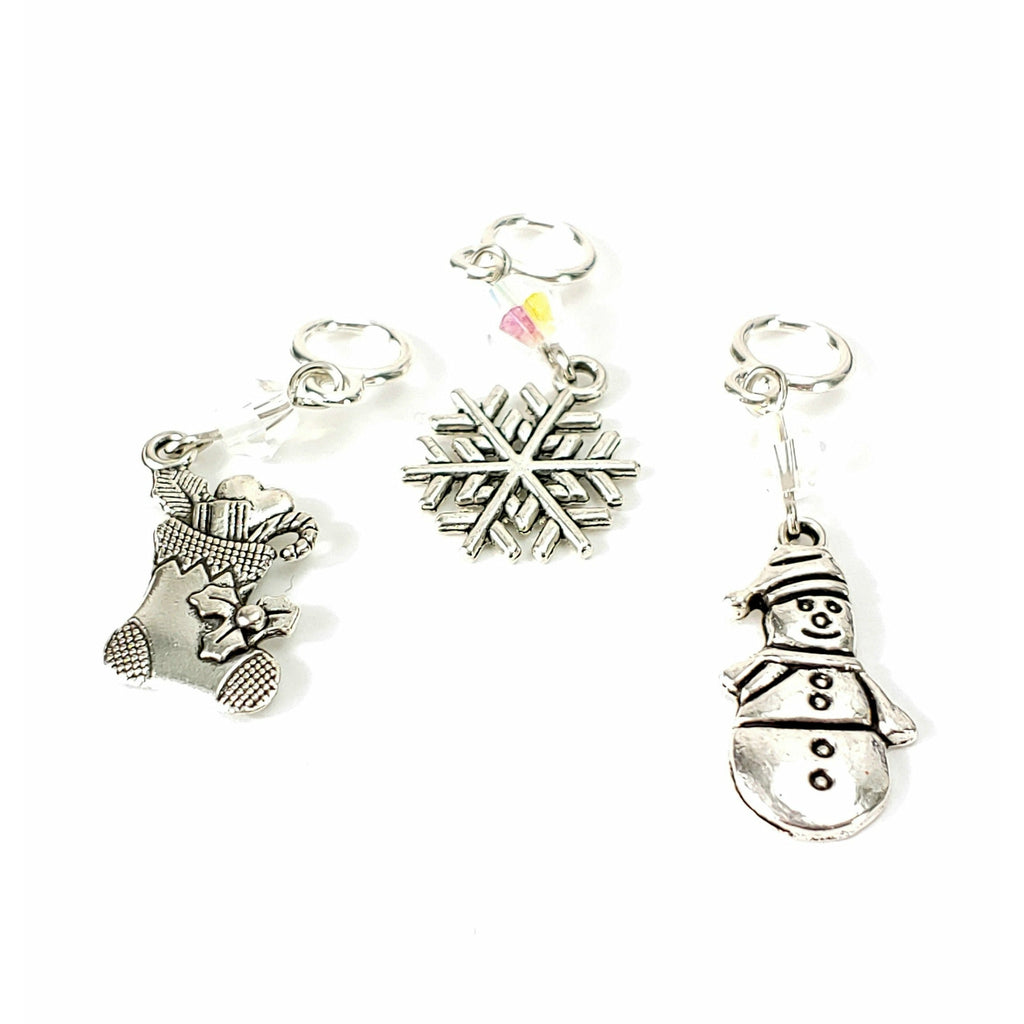 Winter Fun - Choice of Stocking, Snowflake, or Snowman </br> Stitch Marker (Single):Stitch Markers,Slipped Stitch Studios:Slipped Stitch Studios