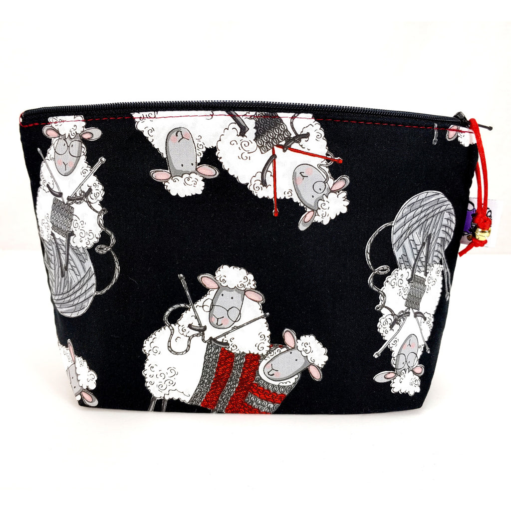 Knitting Sheep (black) </br> Zipper Notion Pouch:Zipper Notion Pouch,Slipped Stitch Studios:Slipped Stitch Studios