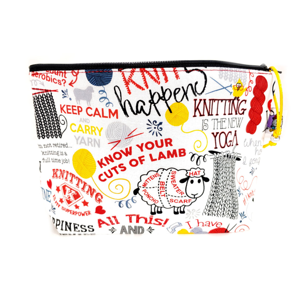 Knitting Phrases </br> Zipper Notion Pouch:Zipper Notion Pouch,Slipped Stitch Studios:Slipped Stitch Studios