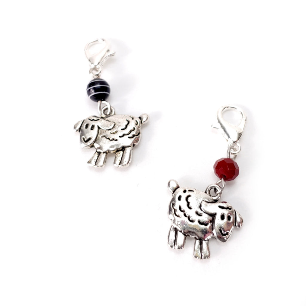 Knitting Sheep (Black or Red) </br> Stitch Marker (Single)