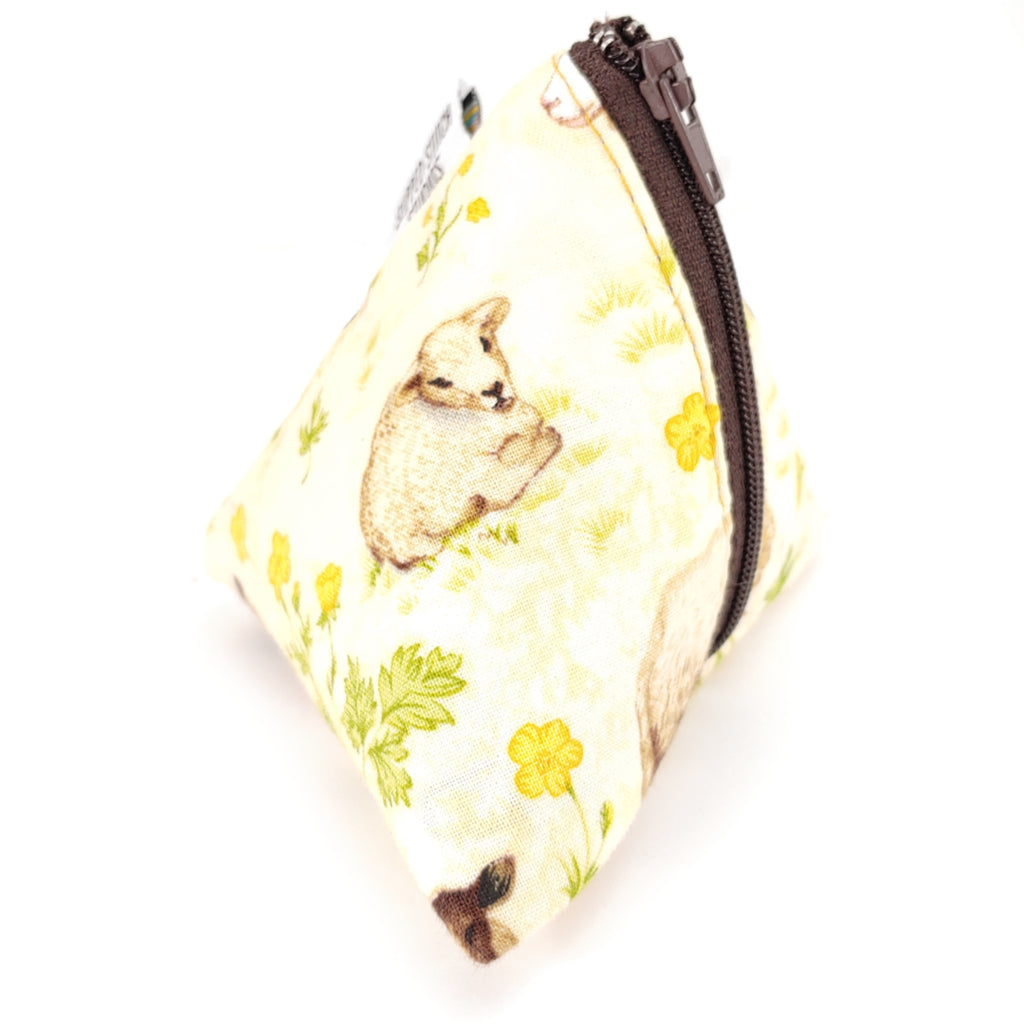 Sheep in Meadow (Tan) </br> Triangle Zipper Notion Pouch:Triangle Zipper Notion Pouch,Slipped Stitch Studios:Slipped Stitch Studios