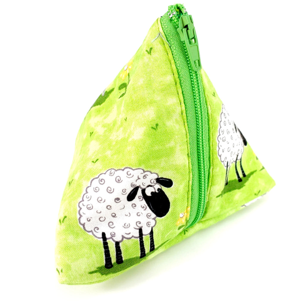 Fluffy Sheep (Green) </br> Triangle Zipper Notion Pouch:Triangle Zipper Notion Pouch,Slipped Stitch Studios:Slipped Stitch Studios