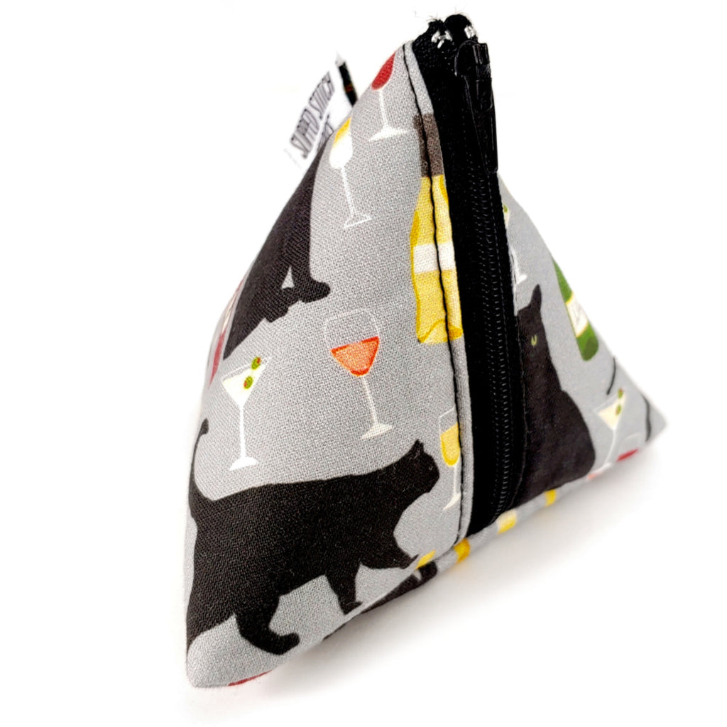 Cats and Wine </br> Triangle Zipper Notion Pouch:Triangle Zipper Notion Pouch,Slipped Stitch Studios:Slipped Stitch Studios