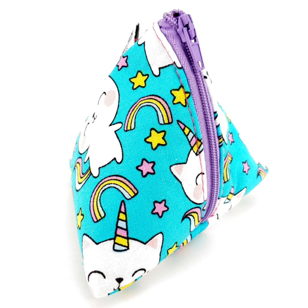 Cat-icorn (Rainbow) </br> Triangle Zipper Notion Pouch:Triangle Zipper Notion Pouch,Slipped Stitch Studios:Slipped Stitch Studios