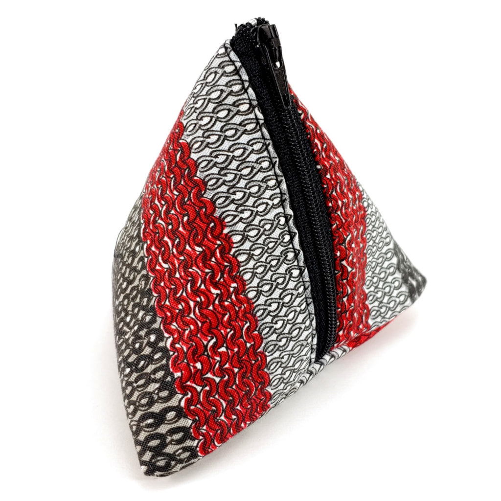 Knit Stitch (Red, Black, Gray) </br> Triangle Zipper Notion Pouch:Triangle Zipper Notion Pouch,Slipped Stitch Studios:Slipped Stitch Studios