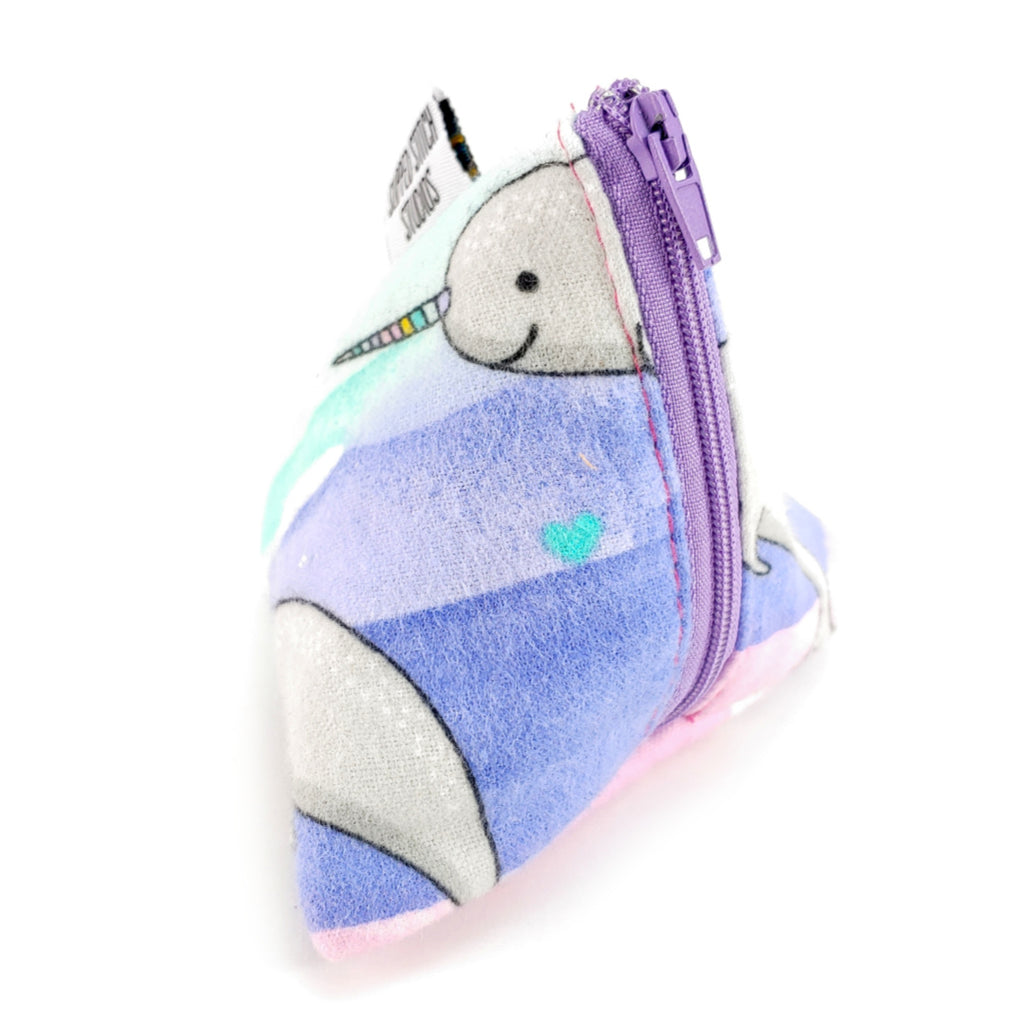 Northern Lights and Narwhals (Flannel) </br> Triangle Zipper Notion Pouch:Triangle Zipper Notion Pouch,Slipped Stitch Studios:Slipped Stitch Studios