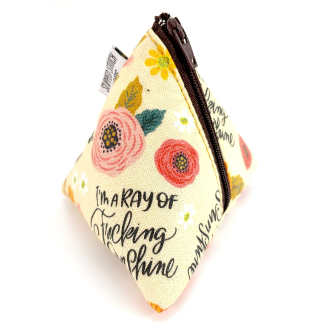 I'm a F*ing Ray of Sunshine </br> Triangle Zipper Notion Pouch:Triangle Zipper Notion Pouch,Slipped Stitch Studios:Slipped Stitch Studios
