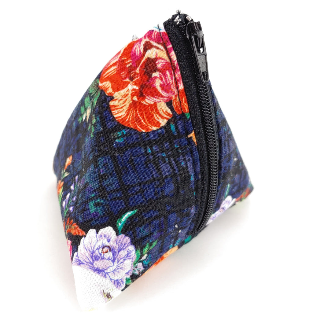 Floral Skulls (Dark Blue) </br> Triangle Zipper Notion Pouch:Triangle Zipper Notion Pouch,Slipped Stitch Studios:Slipped Stitch Studios