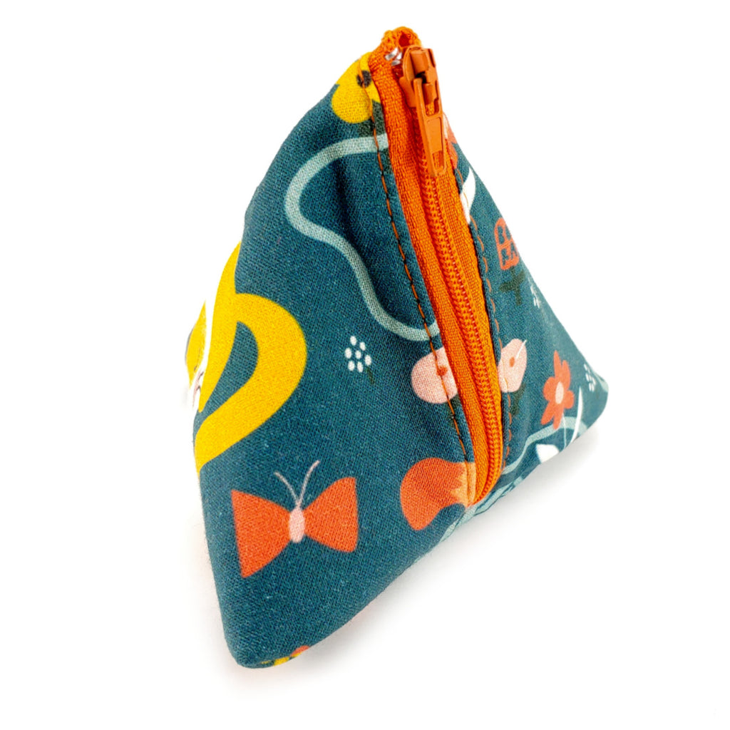 Kitties (Teal) </br> Triangle Zipper Notion Pouch:Triangle Zipper Notion Pouch,Slipped Stitch Studios:Slipped Stitch Studios