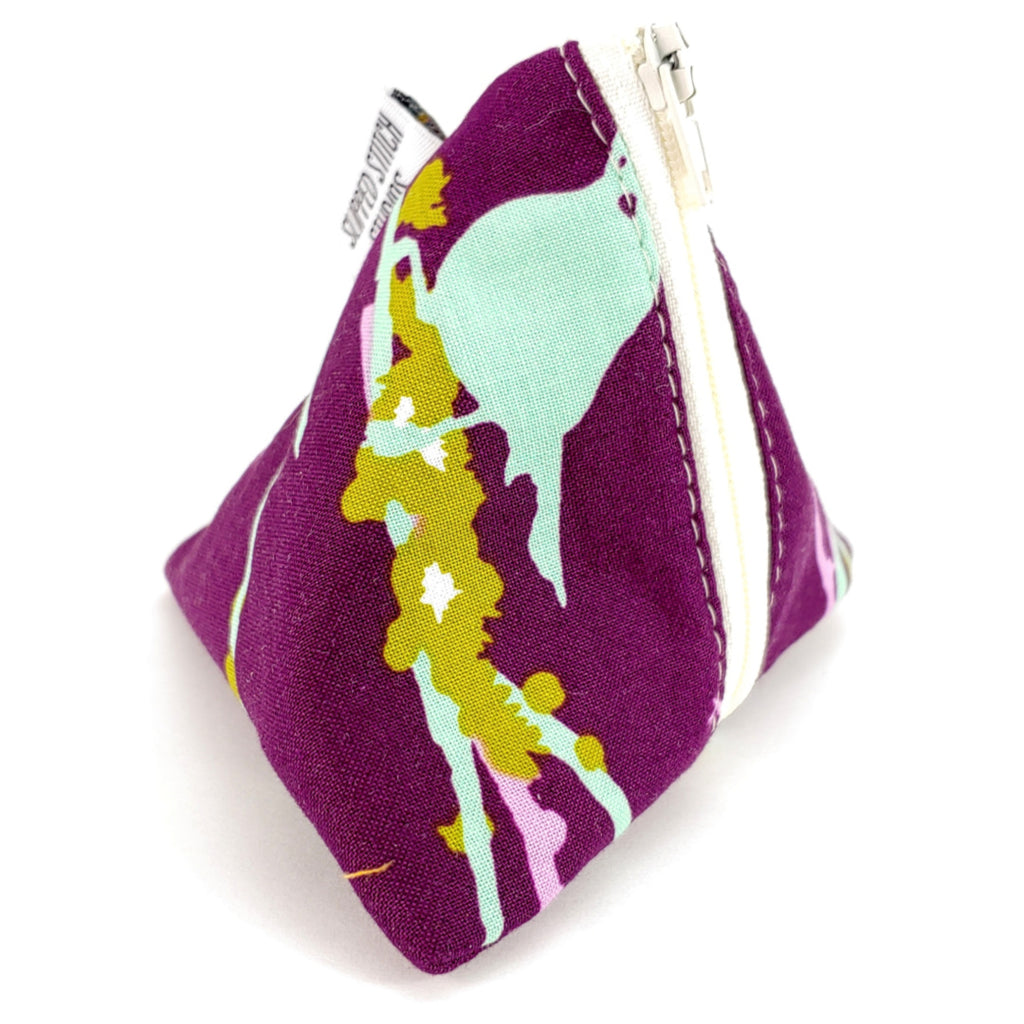 Birds (Burgundy) </br> Triangle Zipper Notion Pouch:Triangle Zipper Notion Pouch,Slipped Stitch Studios:Slipped Stitch Studios