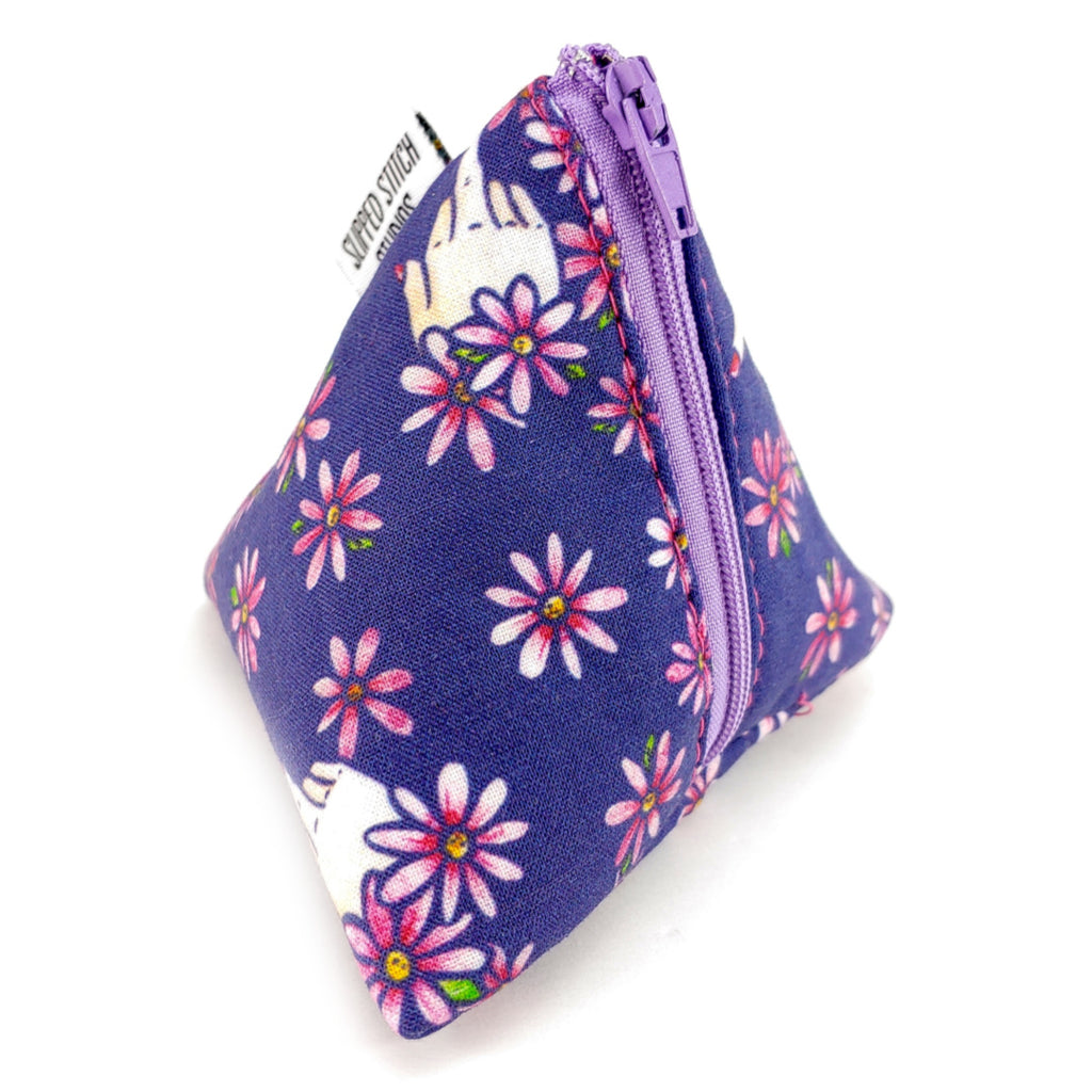 Floral Fingers </br> Triangle Zipper Notion Pouch:Triangle Zipper Notion Pouch,Slipped Stitch Studios:Slipped Stitch Studios