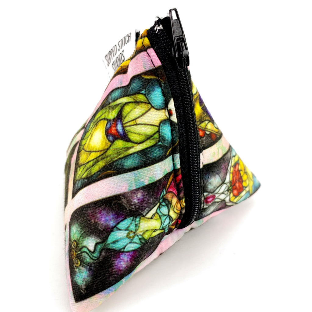 Stained Glass Stories </br> Triangle Zipper Notion Pouch:Triangle Zipper Notion Pouch,Slipped Stitch Studios:Slipped Stitch Studios
