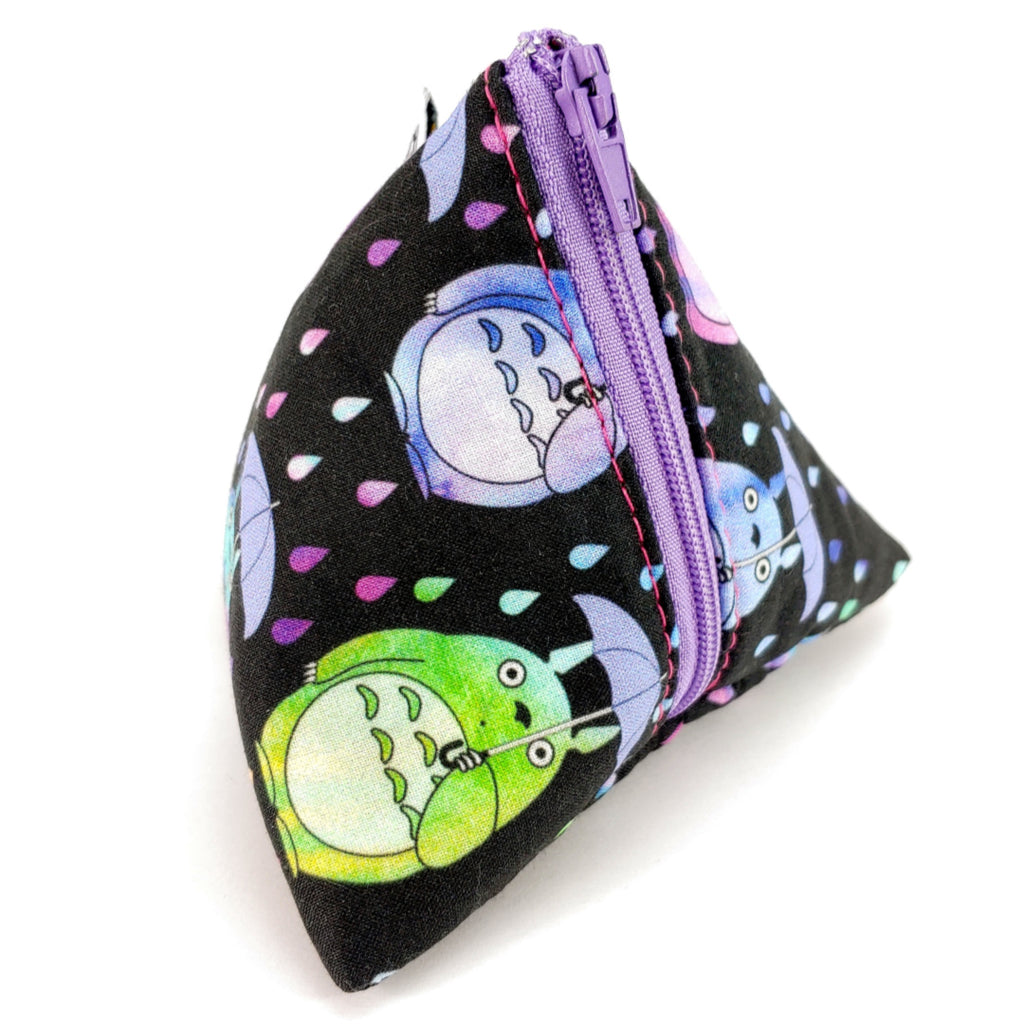 Totoro </br> Triangle Zipper Notion Pouch:Triangle Zipper Notion Pouch,Slipped Stitch Studios:Slipped Stitch Studios