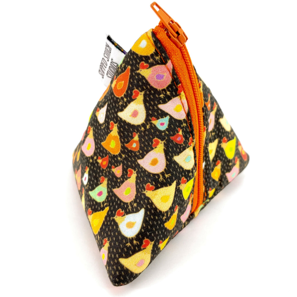Chickens </br> Triangle Zipper Notion Pouch:Triangle Zipper Notion Pouch,Slipped Stitch Studios:Slipped Stitch Studios