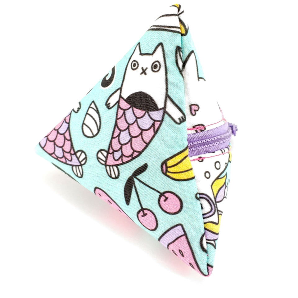 Mermaid Cats </br> Triangle Zipper Notion Pouch:Triangle Zipper Notion Pouch,Slipped Stitch Studios:Slipped Stitch Studios