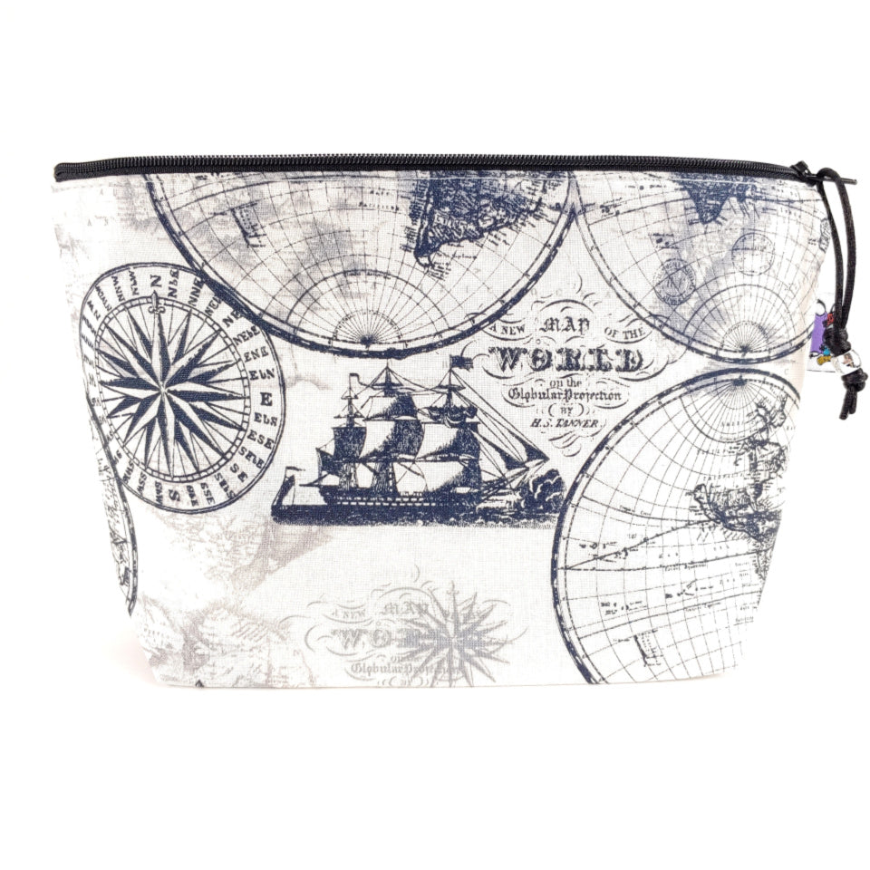 Vintage World Map </br> Zipper Notion Pouch:Zipper Notion Pouch,Slipped Stitch Studios:Slipped Stitch Studios