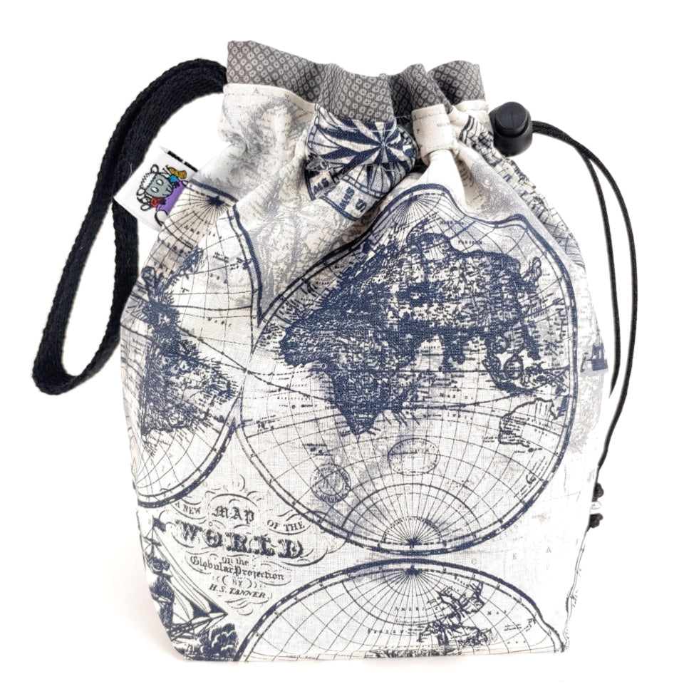 Vintage World Map </br> Small Project Bag:Small Project Bag,Slipped Stitch Studios:Slipped Stitch Studios