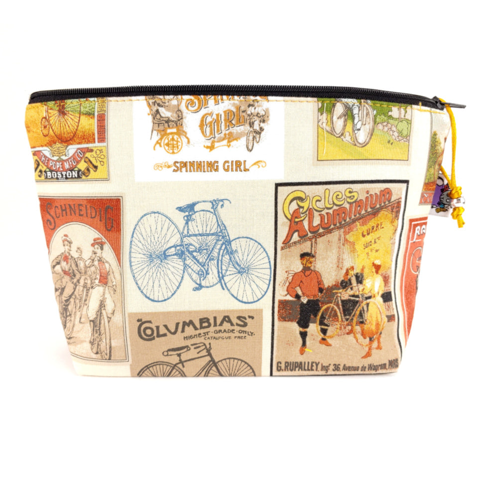 For the Love of Bicycles </br> Zipper Notion Pouch:Zipper Notion Pouch,Slipped Stitch Studios:Slipped Stitch Studios