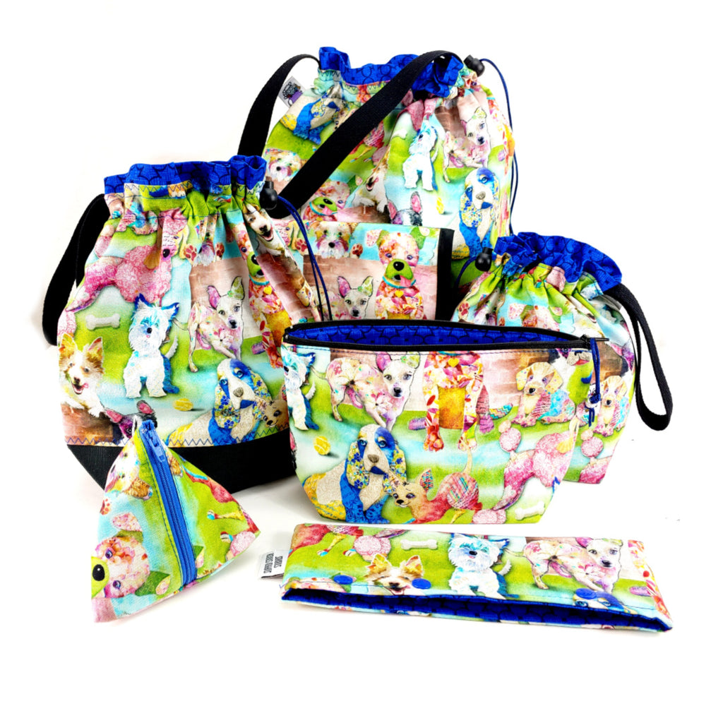 Patchwork Pups </br> Triangle Zipper Notion Pouch:Triangle Zipper Notion Pouch,Slipped Stitch Studios:Slipped Stitch Studios
