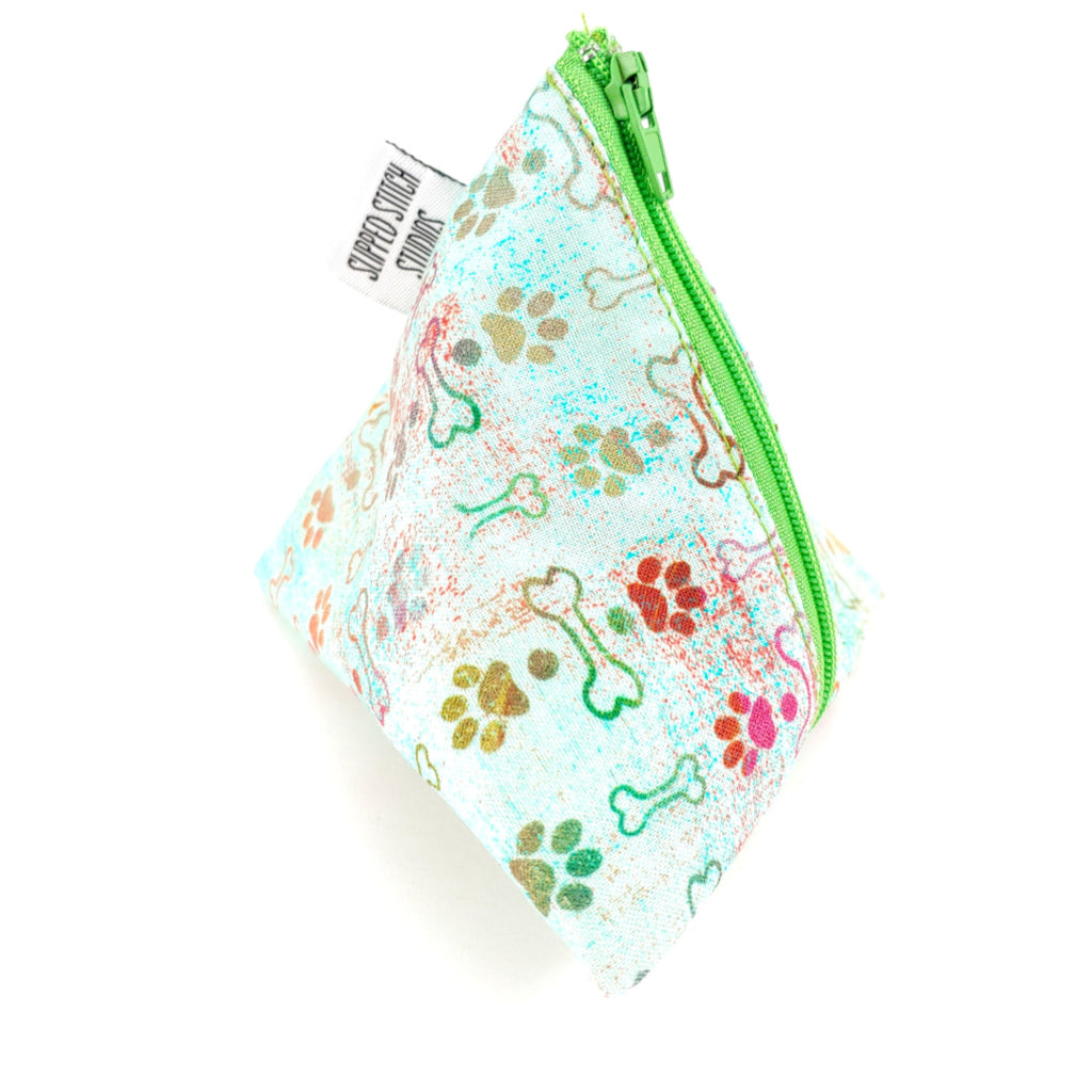 Puppy Love </br> Triangle Zipper Notion Pouch:Triangle Zipper Notion Pouch,Slipped Stitch Studios:Slipped Stitch Studios