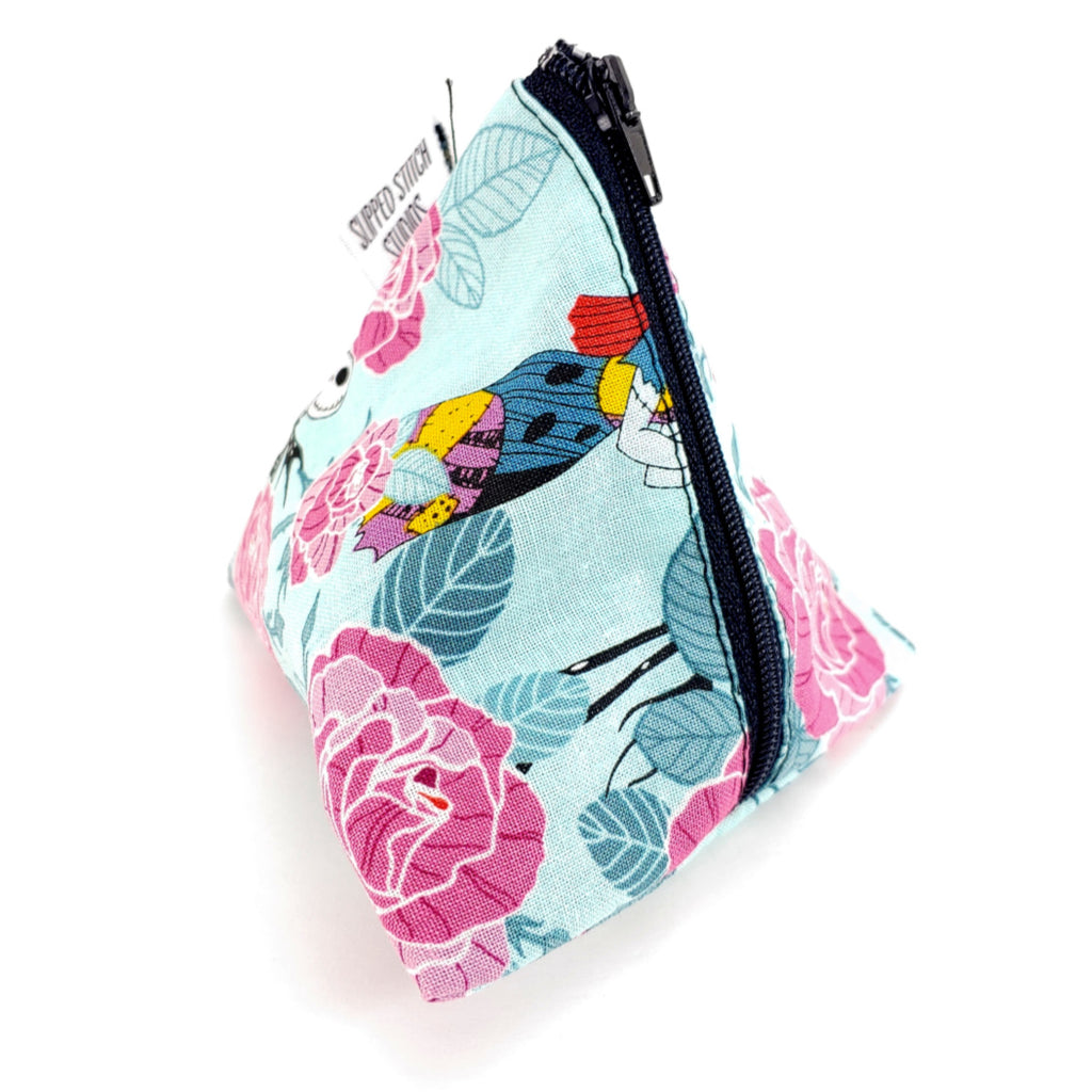 Jack and Sally Roses </br> Triangle Zipper Notion Pouch:Triangle Zipper Notion Pouch,Slipped Stitch Studios:Slipped Stitch Studios