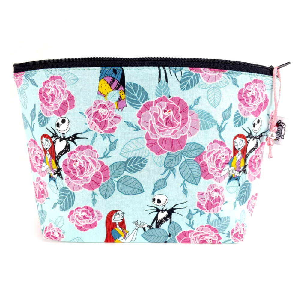 Jack and Sally Roses </br> Zipper Notion Pouch:Zipper Notion Pouch,Slipped Stitch Studios:Slipped Stitch Studios