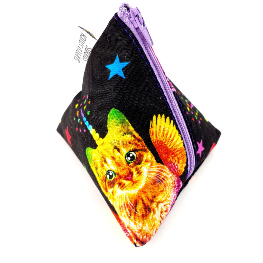 Angel Baby Uni-Kittens </br> Triangle Zipper Notion Pouch:Triangle Zipper Notion Pouch,Slipped Stitch Studios:Slipped Stitch Studios