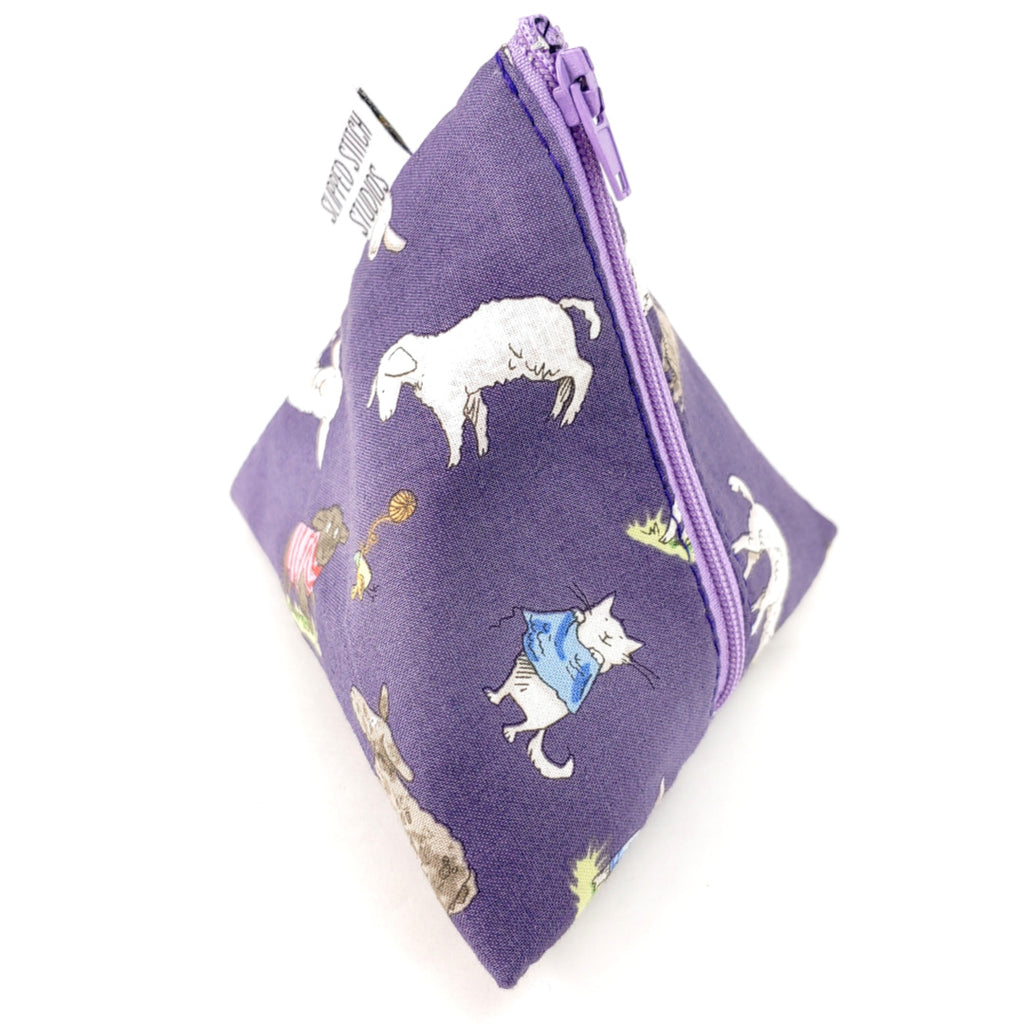 Playful Lambs </br> Triangle Zipper Notion Pouch:Triangle Zipper Notion Pouch,Slipped Stitch Studios:Slipped Stitch Studios